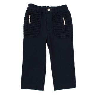 Nicholas & Bears Navy Jersey Trousers with Pleats