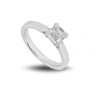 Bespoke Platinum Asscher Cut Diamond Ring