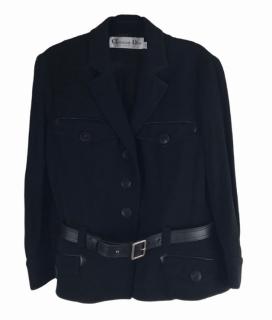 Dior Black Leather Trimmed Belted Jacket