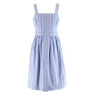 Draper James Blue Striped Cotton Sleeveless Dress
