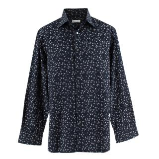 Donato Liguori Navy Floral Cotton Tailored Long Sleeve Shirt