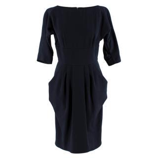 Aquascutum Navy Wool 3/4 Sleeve Short Dress