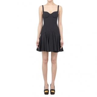 Alexander McQueen Black Crepe Fit & Flare Mini Dress