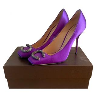 Gucci Purple Satin Dionysus Pumps