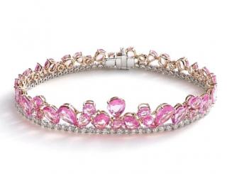 William & Son Beneath The Rose Diamond & Pink Sapphire Bracelet