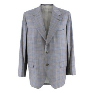 Donato Liguori Grey Checkered Wool Blend Tailored Jacket