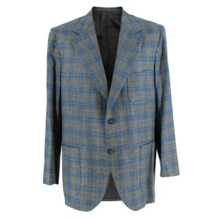 Donato Liguori Green & Blue Wool Blend Tailored Single Breast