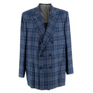 Donato Liguori Blue Cotton & Linen Blend Tailored Blazer Jacket