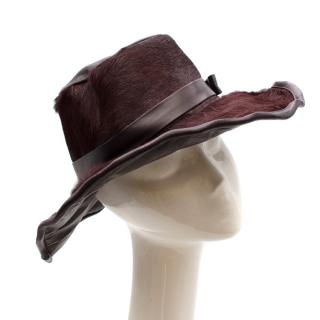 Acne Plum Coloured Pony Hair Bucket Hat With Bow Detail