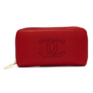 Chanel Red Caviar Leather CC Long Wallet