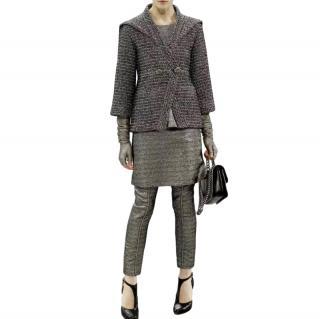 Chanel Metallic Black Runway Asymmetric Jacket