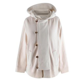 Malo Ivory Cashmere Hooded Cape Back Cardigan