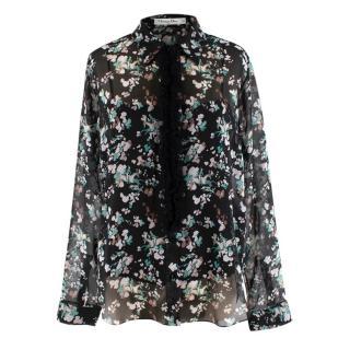 Christian Dior Floral Print Sheer Ruffle Trim Blouse