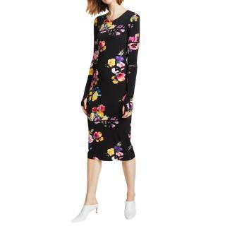 Preen by Thornton Bregazzi Black Posy Print Midi Dress