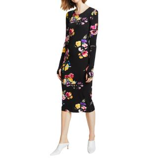 Preen by Thornton Bregazzi Black Posy Print Midi Dress