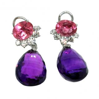 William & Son Pink Tourmaline Diamond Earrings w/ Removeable Amethyst