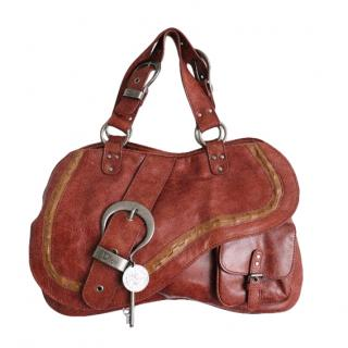 Christian Dior Tan Leather Gaucho Saddle Bag
