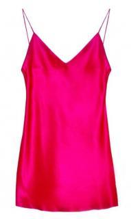 Maguy De Chadirac Fuchsia Silk Satin Mini Slip Dress