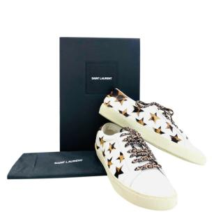 Saint Laurent Leather & Pony Hair Low Top Trainers
