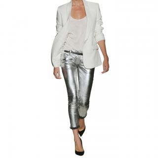 Balmain Cropped metallic leather motocross pants