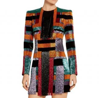 Balmain Runway Geometric Beaded Velvet Mini Dress