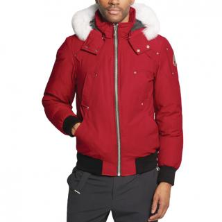 Moose Knuckles Red Ballistic Bomber Jacket