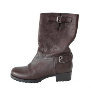 Prada Brown Leather Biker Boots