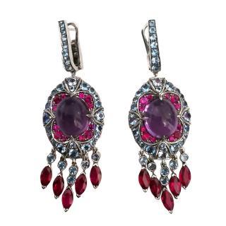 Niquesa Amethyhst, Ruby, Diamond & Aquamarine Drop Earrings