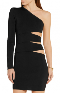 Balmain One-shoulder cutout stretch-knit mini dress