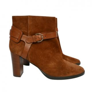 Jimmy Choo deep tan suede ankle boots