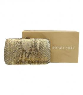 Sergio Rossi gold metallic python clutch