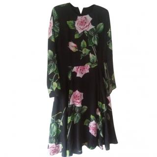 Dolce & Gabbana rose print black silk dress