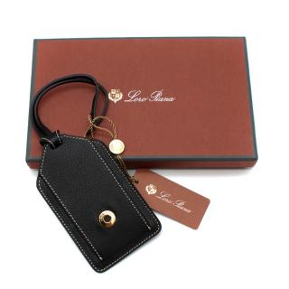 Loro Piana Black Grained Leather My Name Luggage Tag
