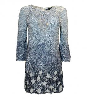 Jenny Packham Silver Ombre Beaded Star Sequin Mini Dress.