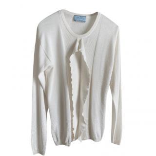 Prada ivory wool/silk blend long sleeve top