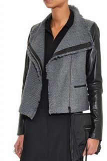 Vince Leather Trimmed Jersey Biker Jacket