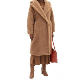 Marella camel double breasted teddy coat