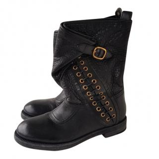 Burberry Lace-Up Buckle Wrap Boots