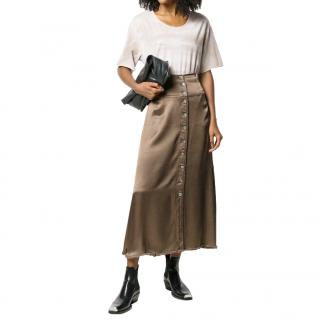 Raquel Allegra metallic button front midi skirt