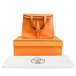 Hermes Orange Clemence Leather Mini 22 Hazlan Bag
