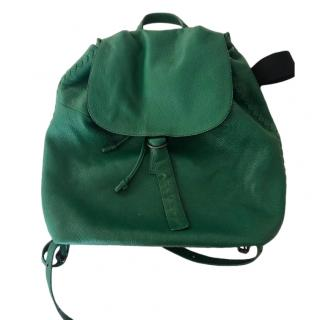 Bottega Veneta green Cervo Lavato Deerskin Compact Backpack