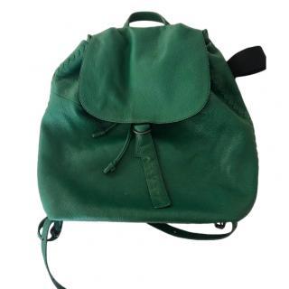 Bottega Veneta green Cervo Lavato Deerskin Compact Backpack