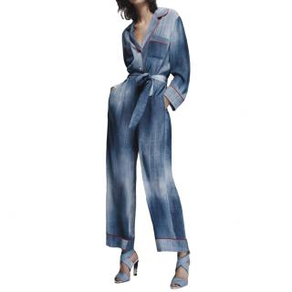 Fendi denim print luxe flowy jumpsuit