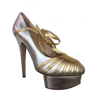 Charlotte Olympia Silver/Gold Platform T-Strap Sandals