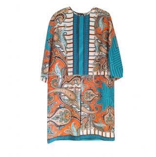 Etro Paisley Print Silk Shift Dress
