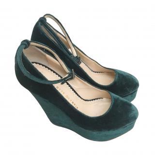 Charlotte Olympia Green Velvet Wedge Sandals