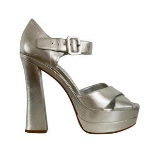 Miu Miu Silver Platform Leather Sandals