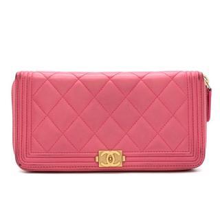 Chanel Pink Lambskin Boy Long Zipped Wallet