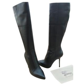 Burberry Black Leather Knee Boots