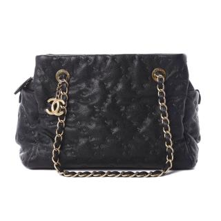 Chanel Black Caviar Stitched Shopping Tote Bag